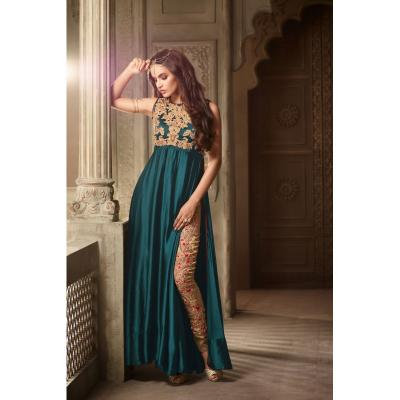 Green Gold Satin Gown