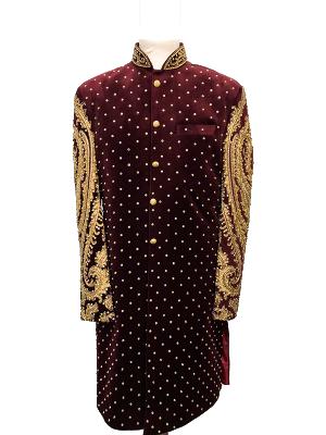 Quilted Maroon Velvet Sherwani