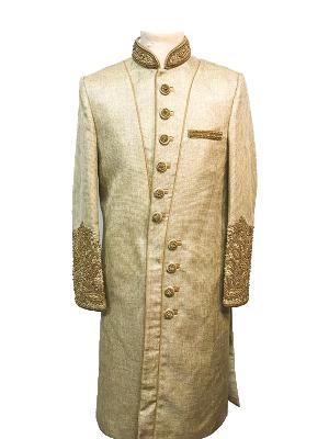 Beige Gold Coloured Sherwani