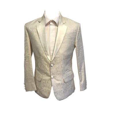 Off White Brocade Silk Blazer