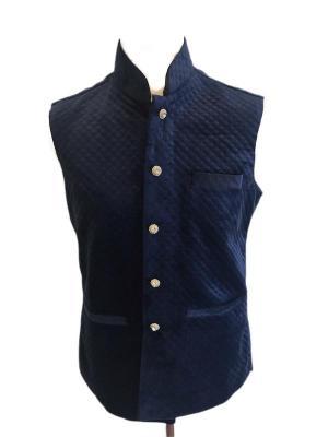 Navy Blue Quilted Velvet Waistcoat
