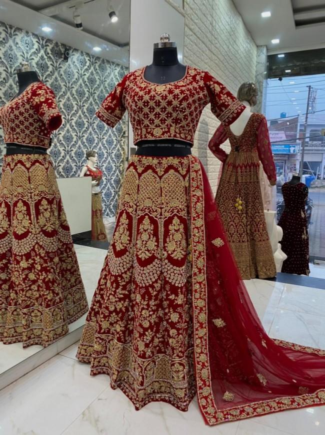 Maroon Heavy Embroidered Bridal Lehenga Choli
