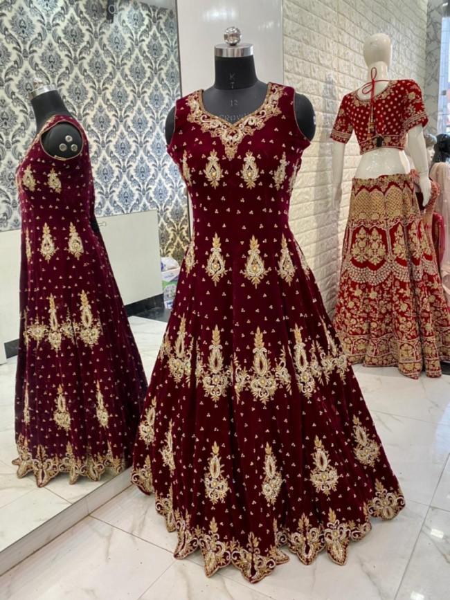Bridal Velvet Gown Long Dress