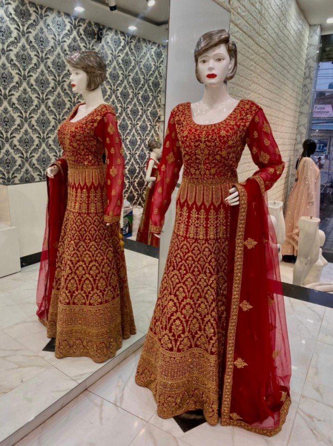 Red Bridal Embroidered Gown