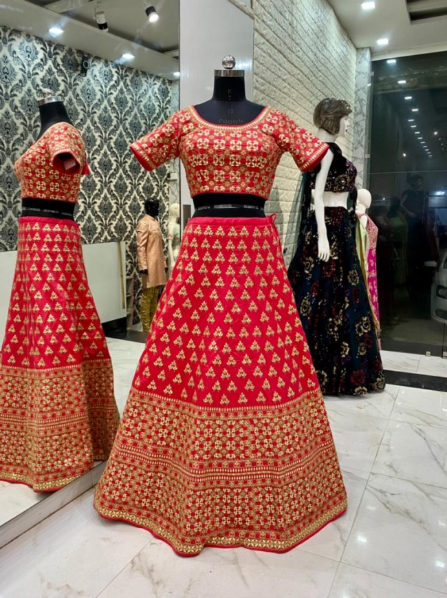 Red Bridal Silk Lehenga Choli