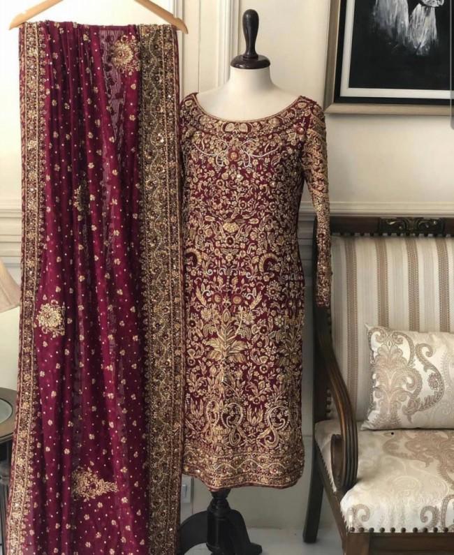 Red Bridal Embroidered Pakistani Kameez
