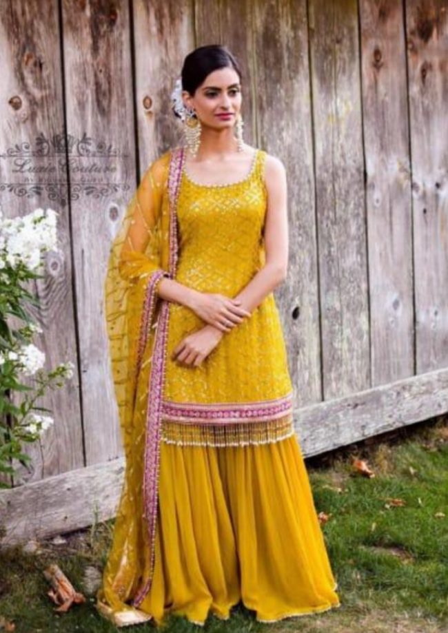 Yellow Georgette 3 Piece Suit