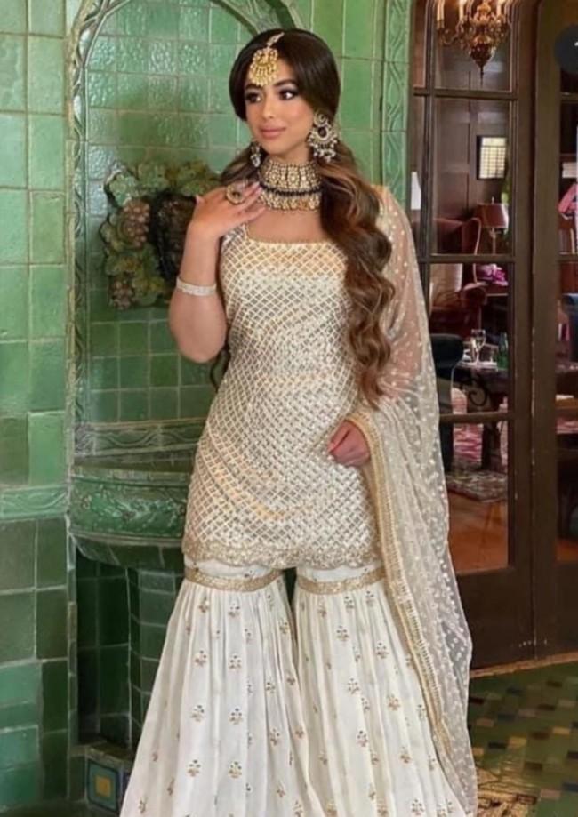 Off White Sharara Kameez Suit