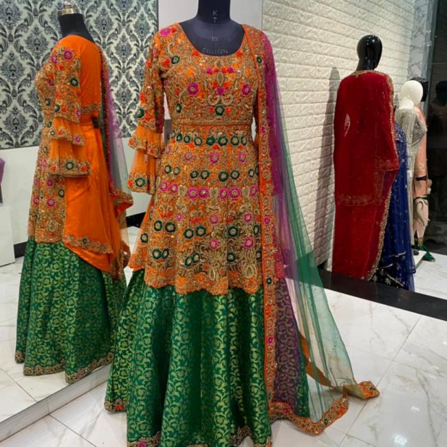Multicolour Silk Embroidered Peplum Lehenga