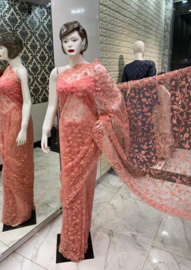 Coral Pink Net Saree