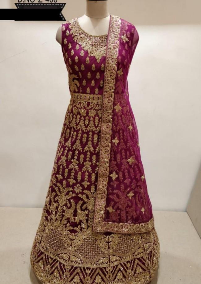 Purple Silk Long Dress