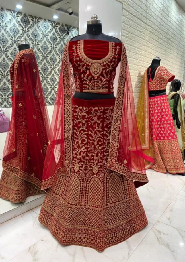Red Bridal Velvet Lehenga Choli