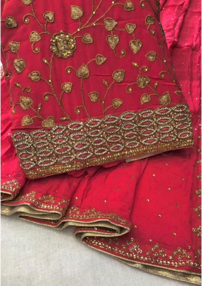 Red Silk 3 Piece Suit