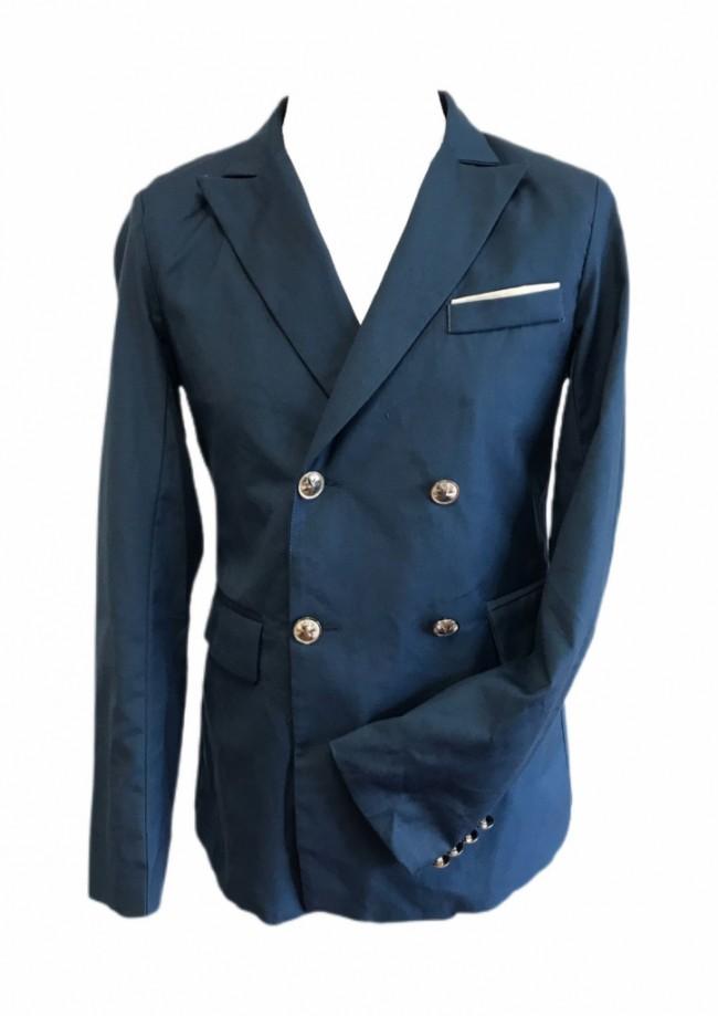 Blue Silk Double Breasted Blazer