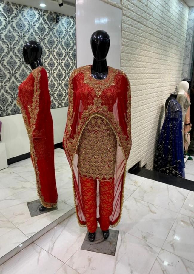 Red Bridal Trouser Suit
