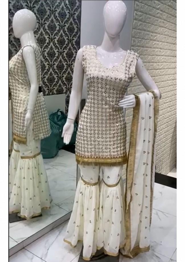 White Sharara Kameez Suit