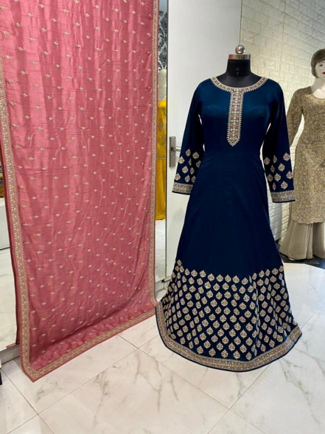Navy Blue Silk Gown