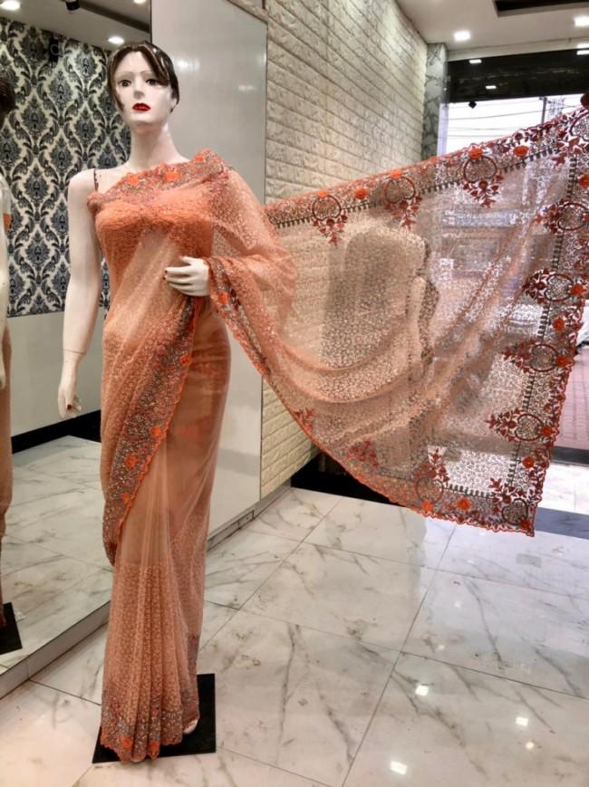 Peach Net Saree