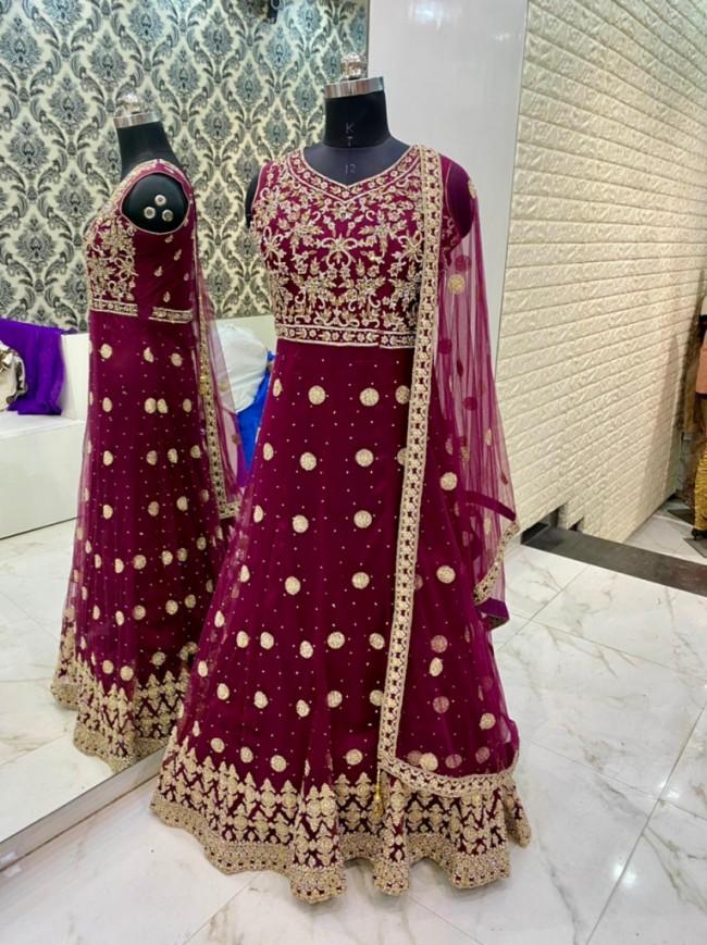Maroon Silk Maxi Gown