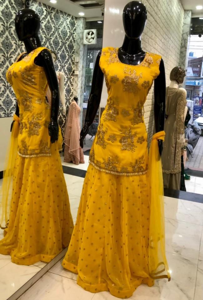 Yellow Net Lehenga Kameez