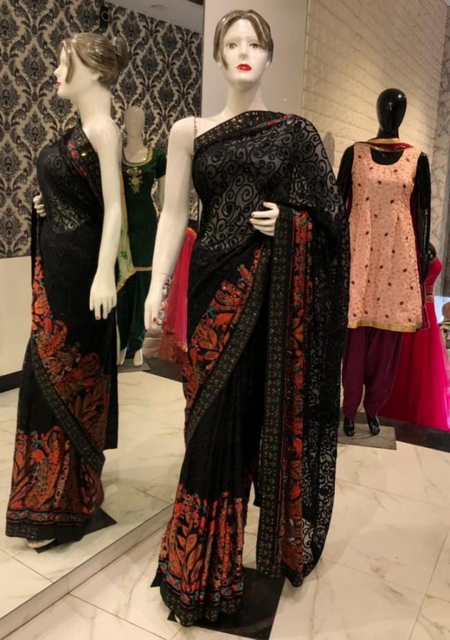 Black Embroidered Net Saree