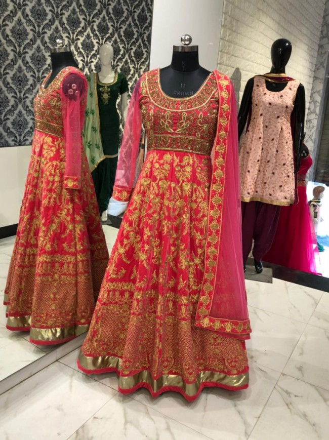 Pink Gold Georgette Gown